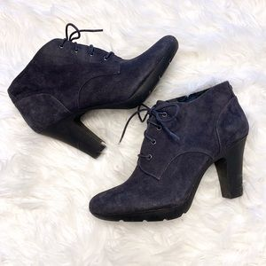 Bandolino Garett suede lace up heeled ankle bootie